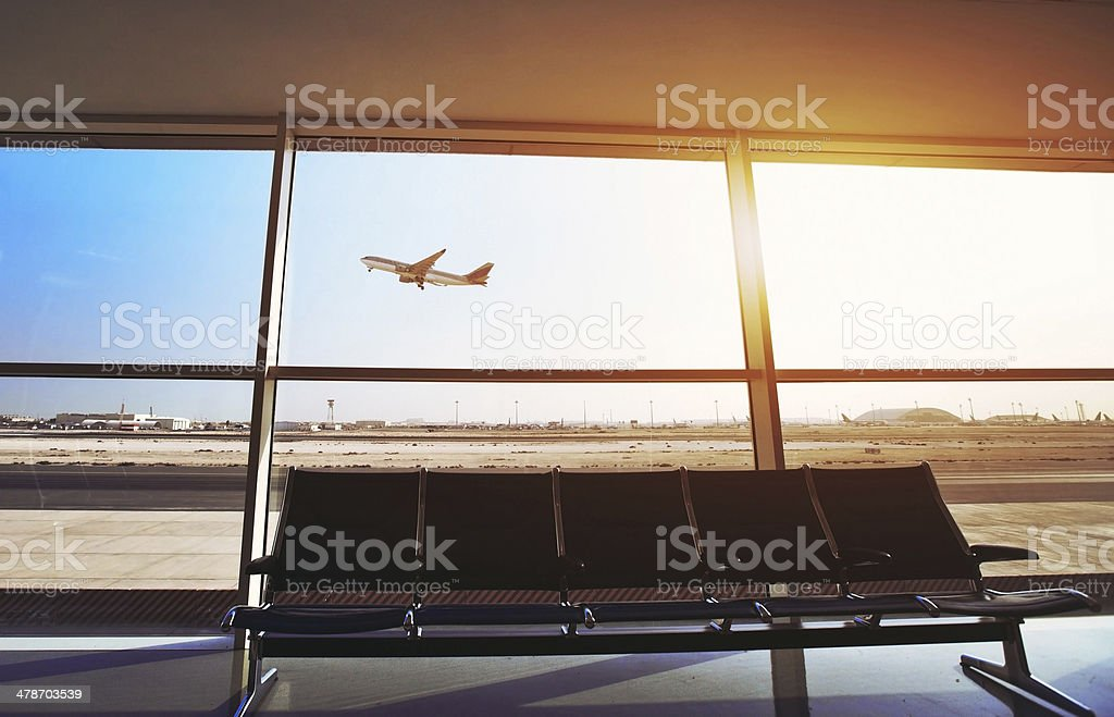 in the airport stock photo