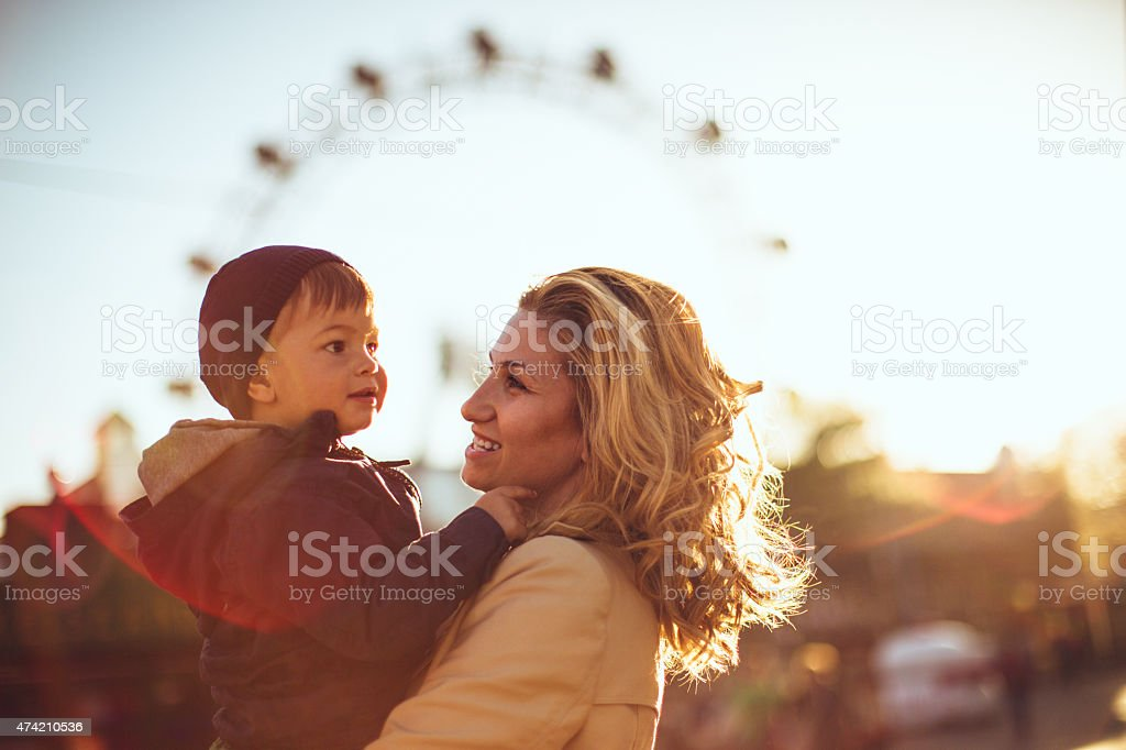 In the amusement park stock photo