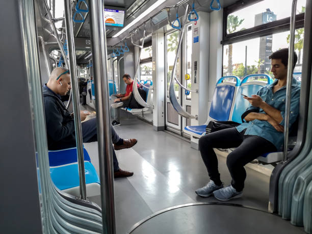In the Antray light rail car that travels from the Airport to the center of Antalya stock photo