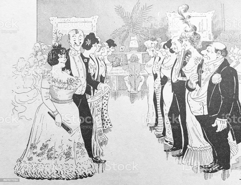 In the ballroom: two rows of couples before dancing, piano player in background stock photo