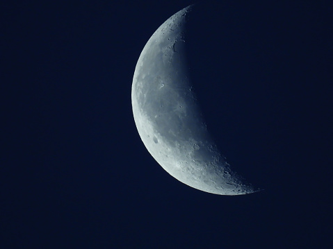 in the blue morning sky stands the waning quarter moon