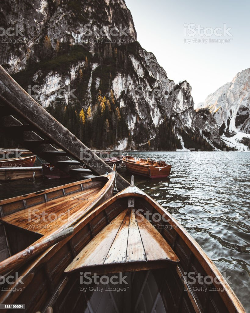 in the boat at braies lake - italy stock photo