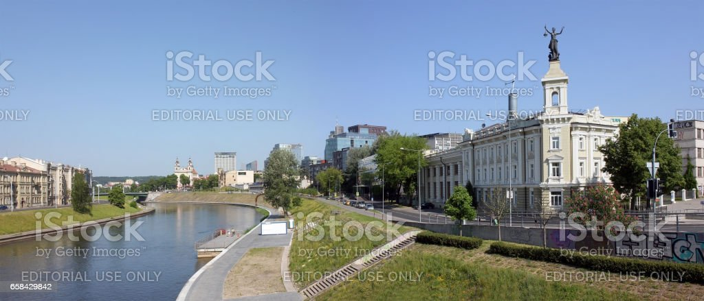 VILNIUS, LITHUANIA - MAY 29, 2016: In the Building of an old city power plant there is a technical museum now. The cost of reconstruction of Nerys River Embankment - 10 million euros stock photo