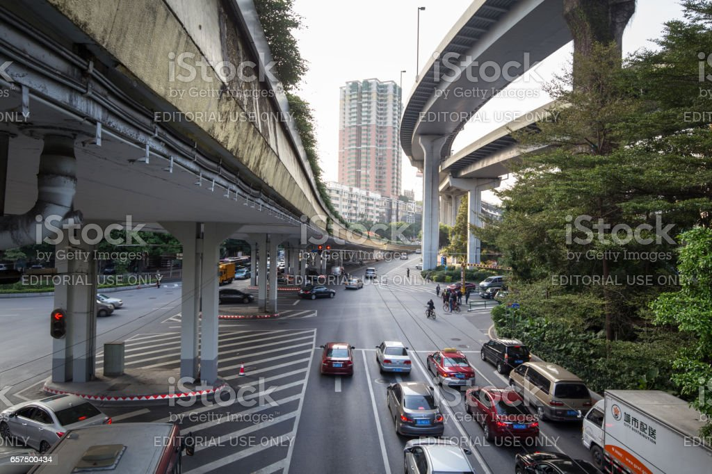 In the busy time,cars crowded on the road,always traffic jam in this city. stock photo
