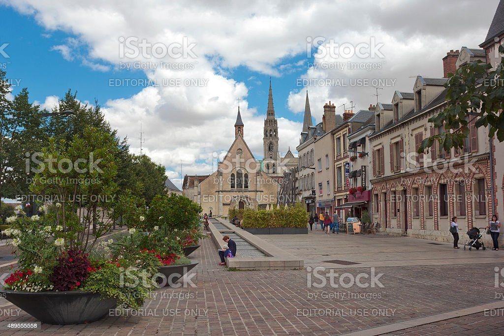 In the center of Chartres, France stock photo