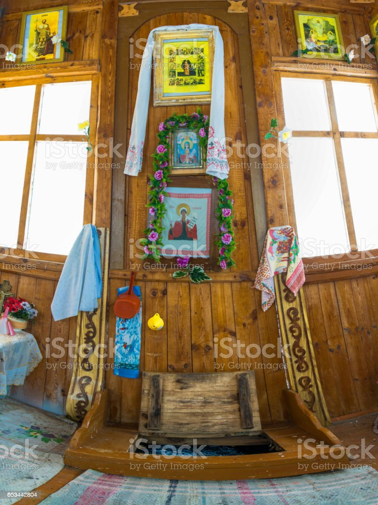 In the chapel of the Holy spring of great Martyr Paraskeva. stock photo
