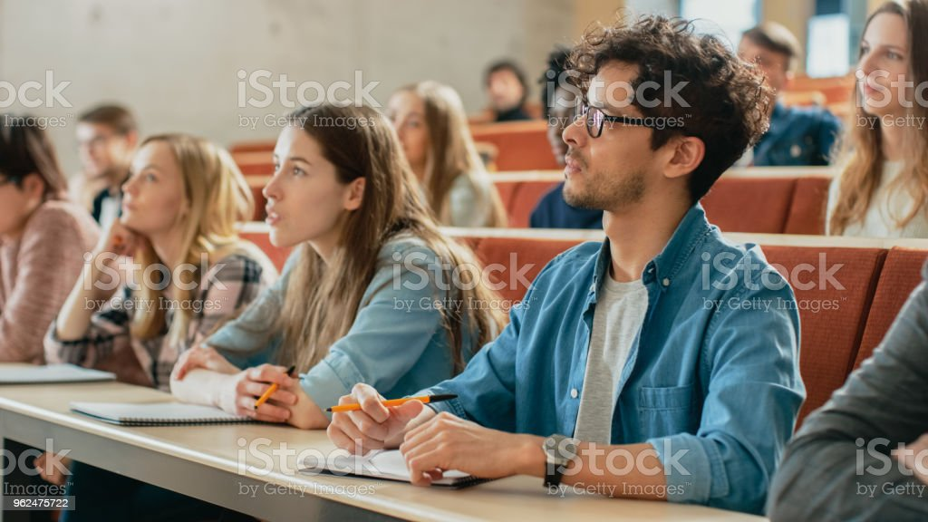 In the Classroom Multi Ethnic Students Listening to a Lecturer and Writing in Notebooks. Smart Young People Study at the College. stock photo