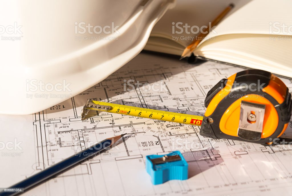 In the construction drawing are pencil and roulette stock photo