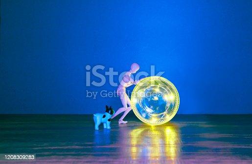 Blue background, human model, animal model, led light, wood table,