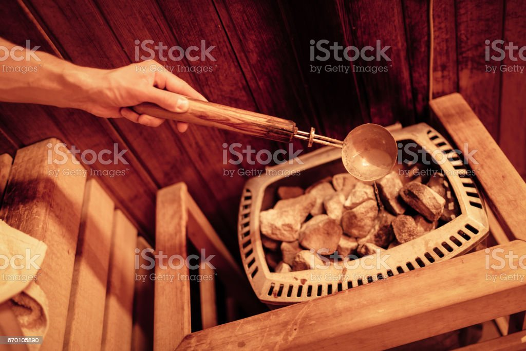 In The Finnish Sauna stock photo