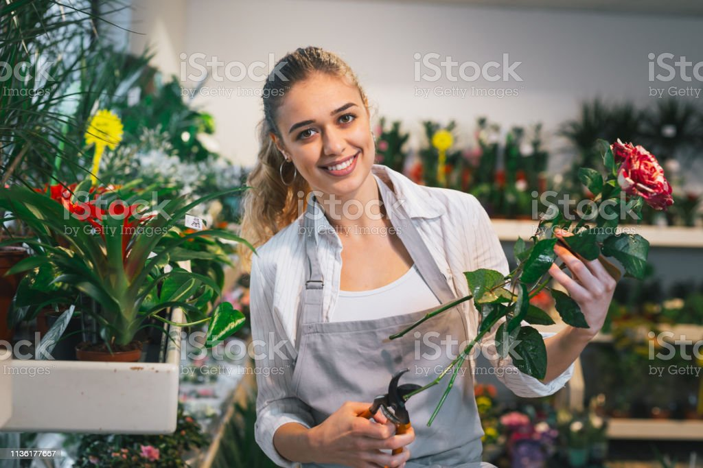 woman florist trimming roses in flower shop