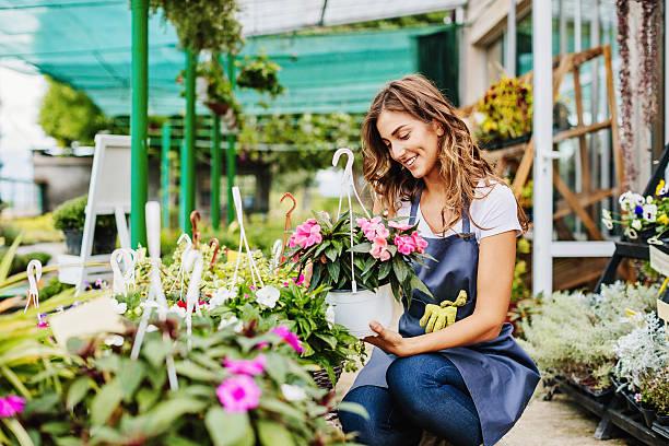 in the garden center - fleuriste photos et images de collection