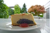 In the garden: cheesecake on white plate