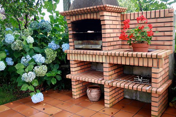 BBQ in the garden stock photo