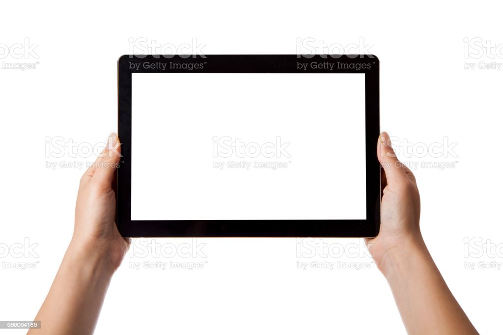 In the hands of girl black tablet stock photo