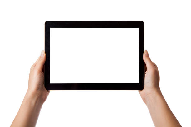 in the hands of girl black tablet - tablet stock photos and pictures