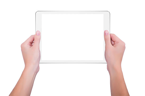 In den Händen des Mädchens weiß tablet – Foto
