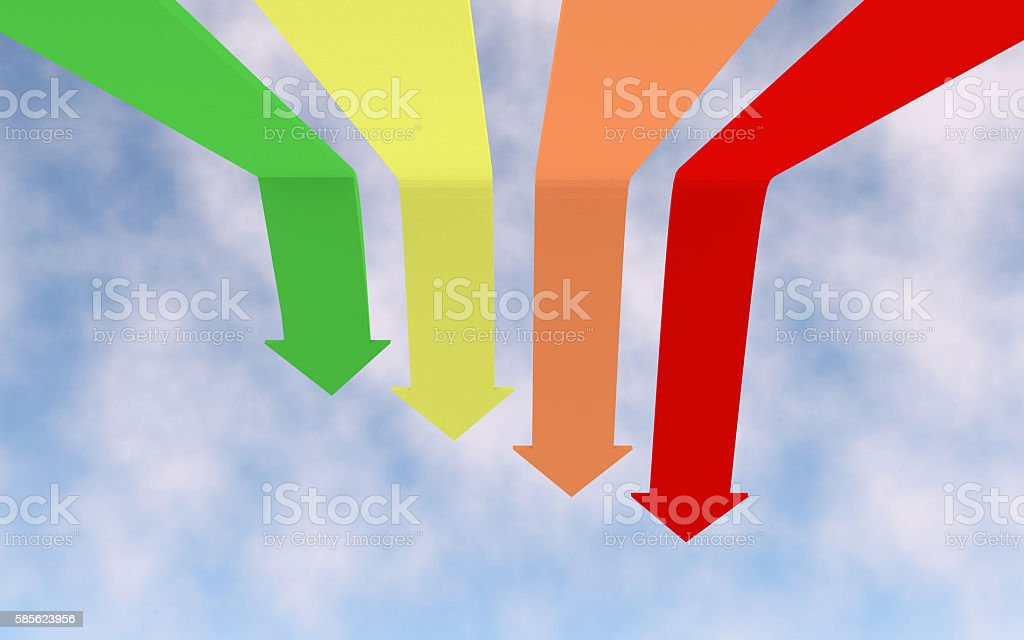 In the illustration showing falling down graph. stock photo