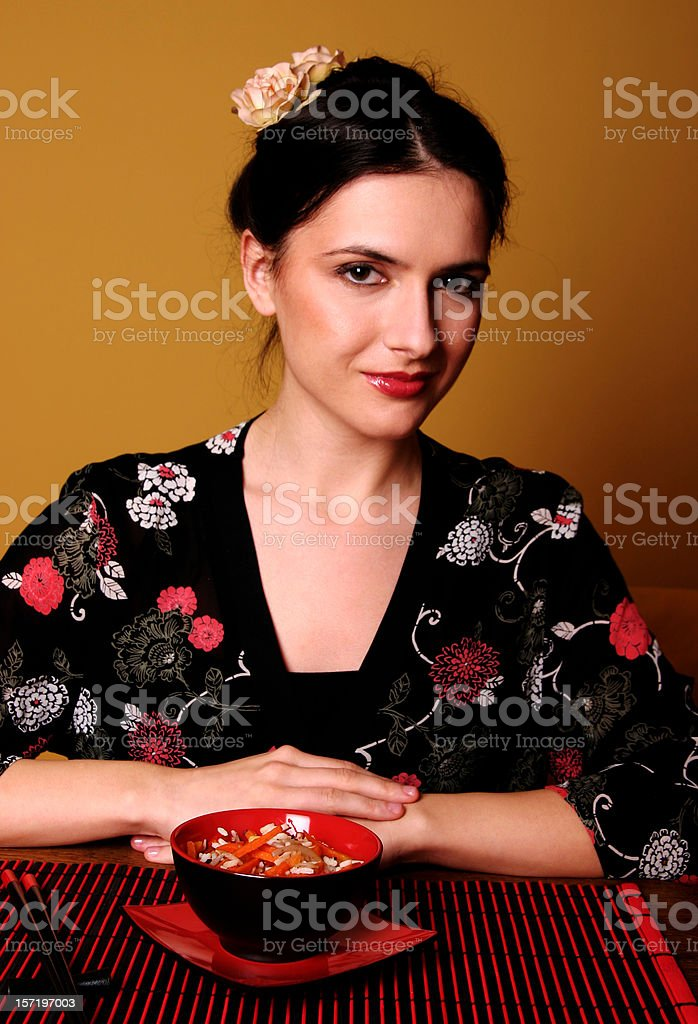 In the Japanese restaurant royalty-free stock photo