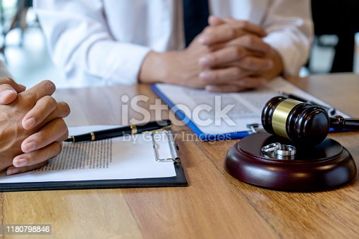 In the law firm, husband and wife signing in legal separation document, marriage law lawyer concept.