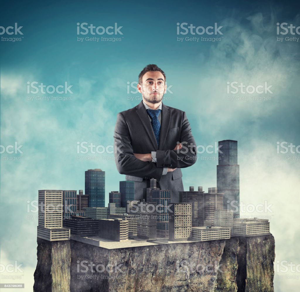In the middle of a town placed stock photo