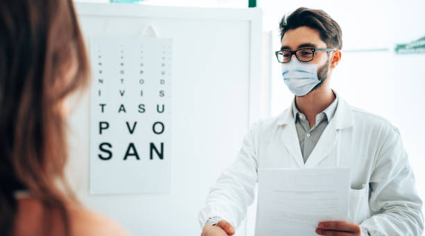 in the office of the optometrist stock photo