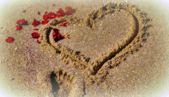 In the sand painted heart with scattered sheets of a rose and a small footprint