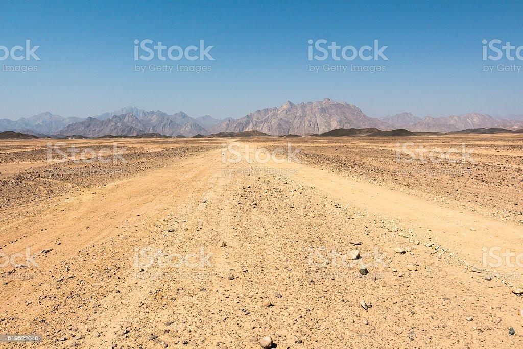 In the sandy arabic desert in egypt, Hurghada stock photo
