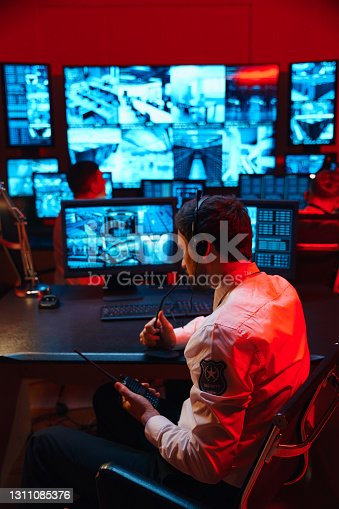 istock In the security office, an alarm went off. Security personnel activated the security protocol. 1311085376