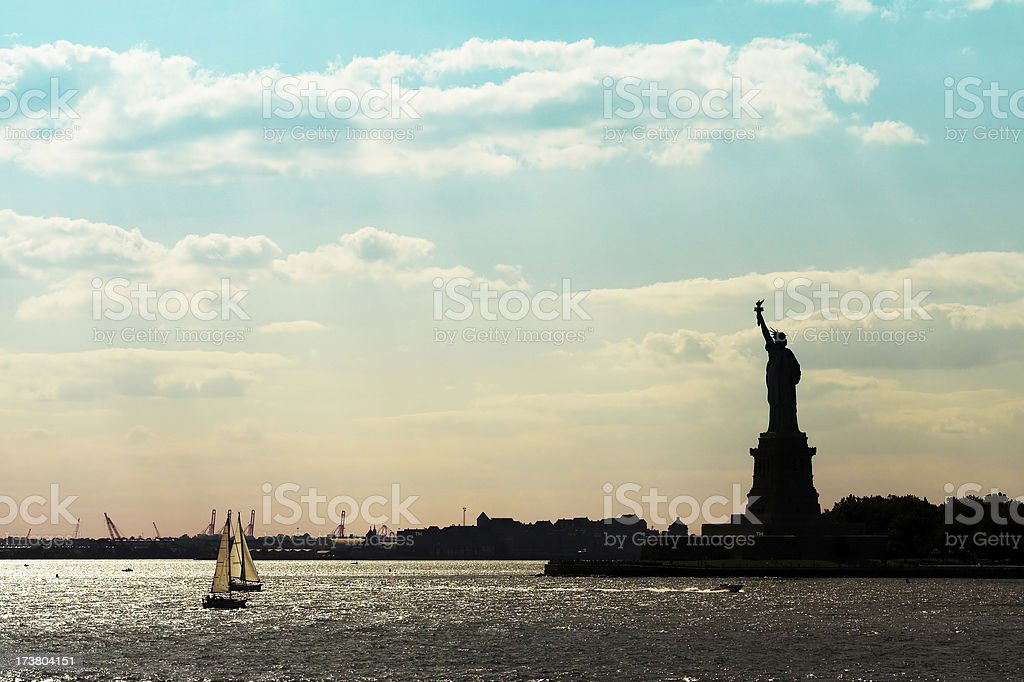 In the shadow of Miss Liberty stock photo