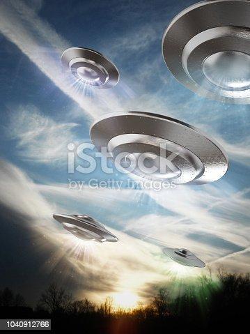 UFO (Unidentified flying object) in the sky