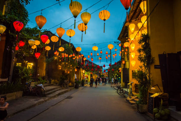 In the streets of Hoi Ans ancient town, in the evening. stock photo