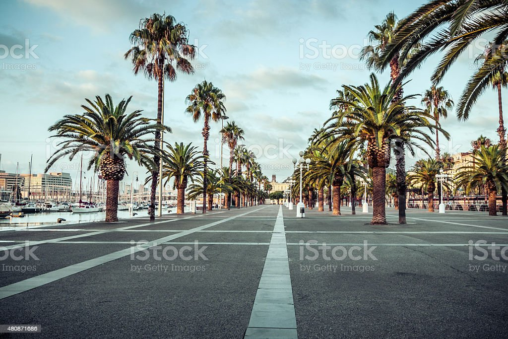 In the streets Port Vell of Barcelona. Spain. stock photo