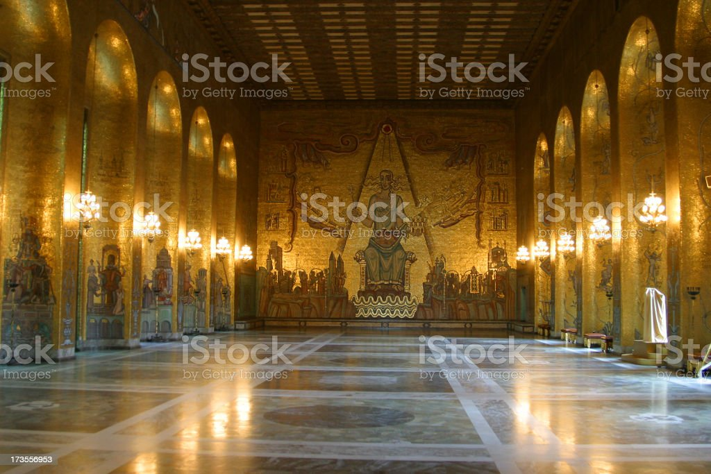 in the town hall of stockholm stock photo