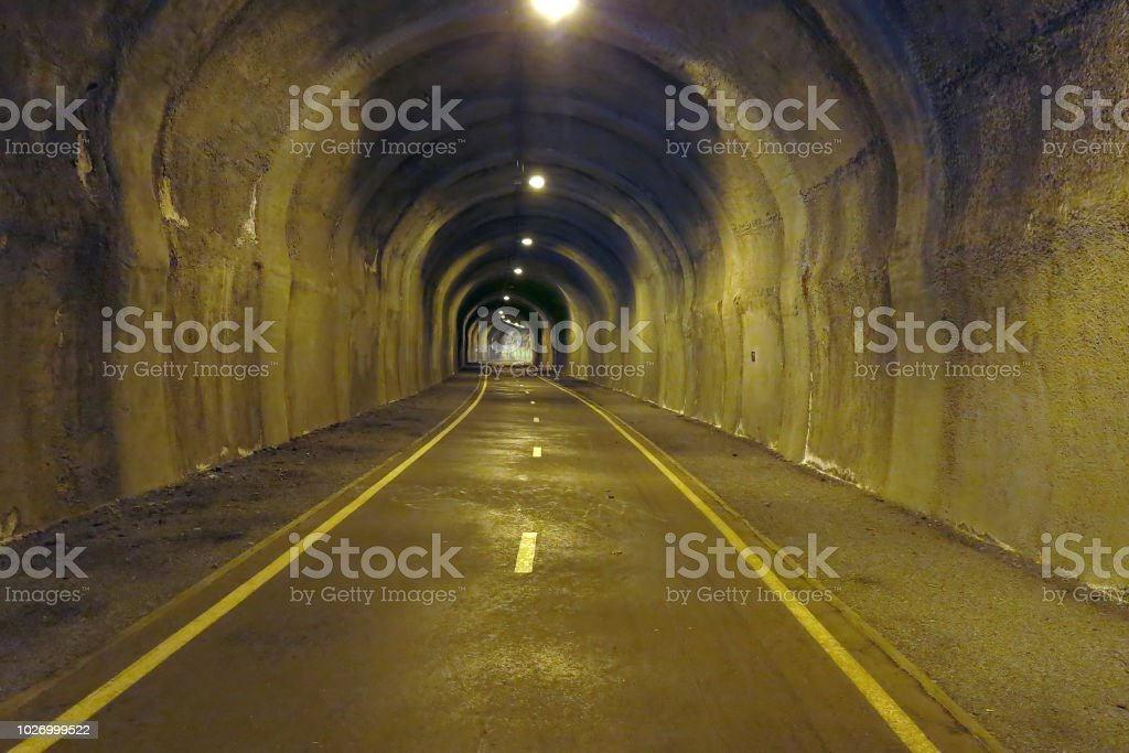 In the tunnel - underground road stock photo