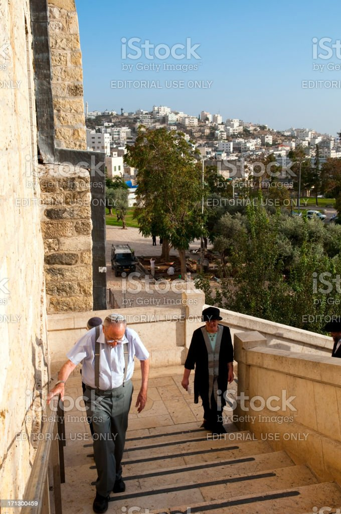 Jews at Cave of the Patriarchs in Hebron royalty-free stock photo