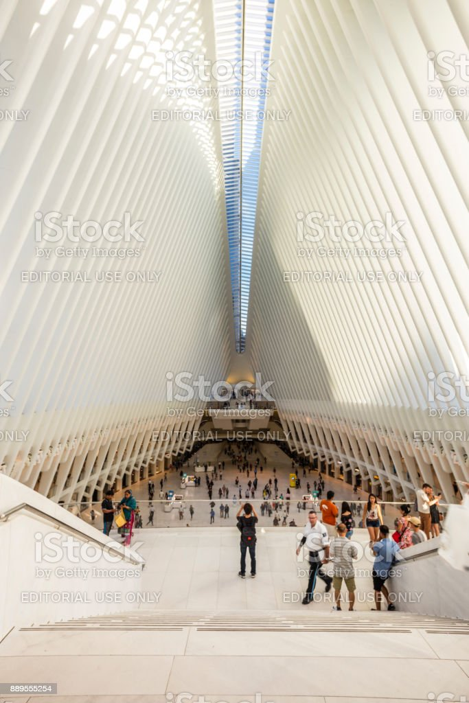 In the World Trade Center Transportation Hub, alsol known as 'the Oculus' and designed by architect Santiago Calatrava stock photo