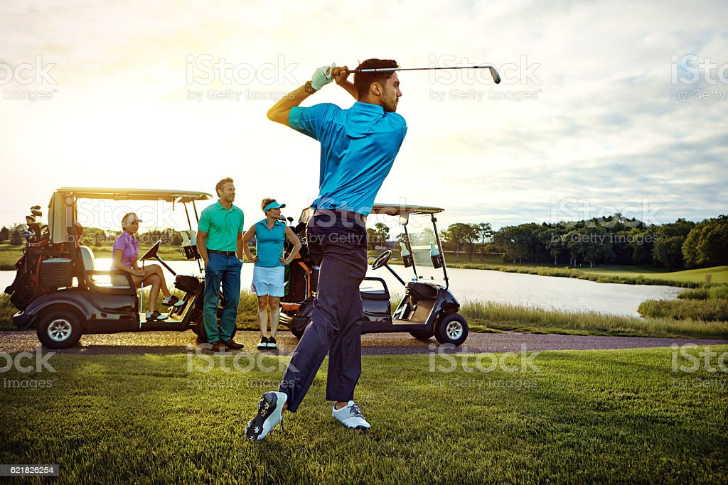In total charge of his swing stock photo