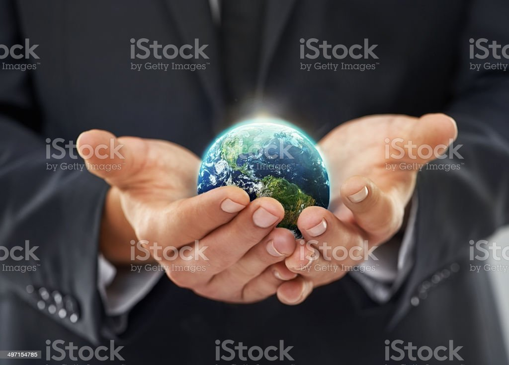 In touch with the world stock photo
