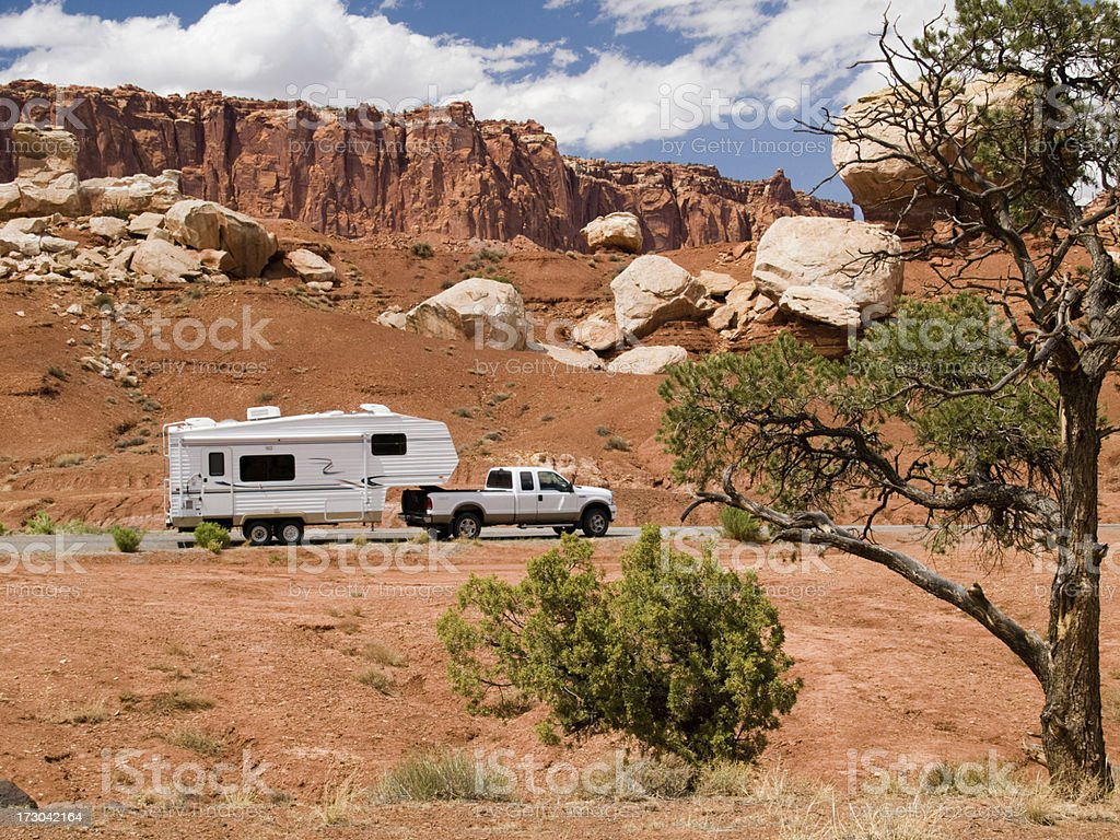 RV in Utah 5th Wheel Travel Trailer White Pickup Truck stock photo