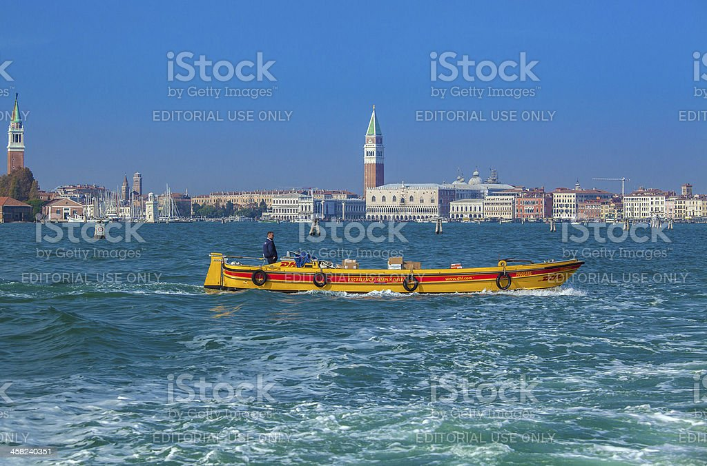 DHL in Venice royalty-free stock photo