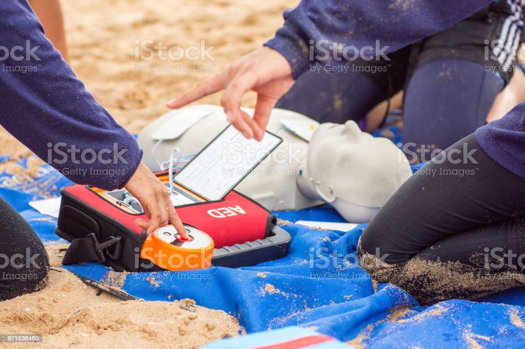 AED in victim drowning stock photo