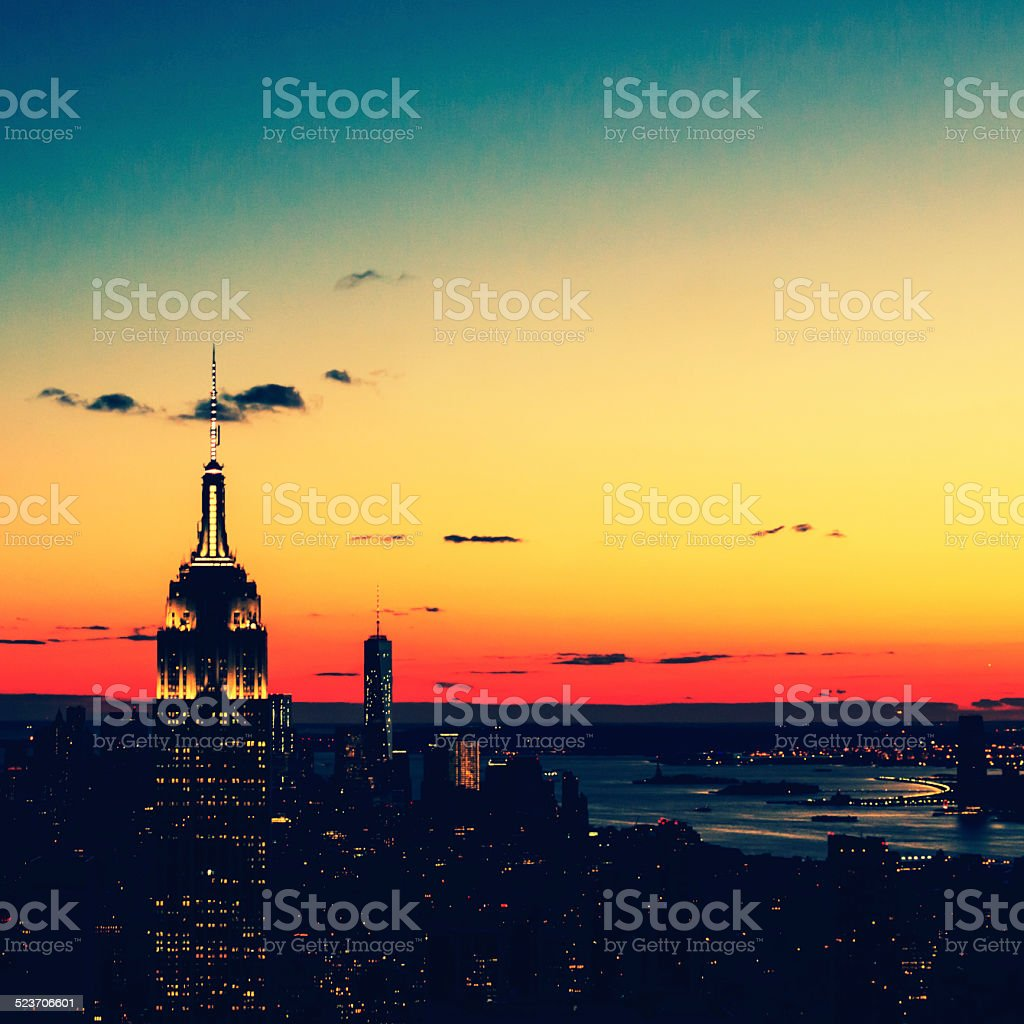NYC in Vintage 70's Nights Colors stock photo