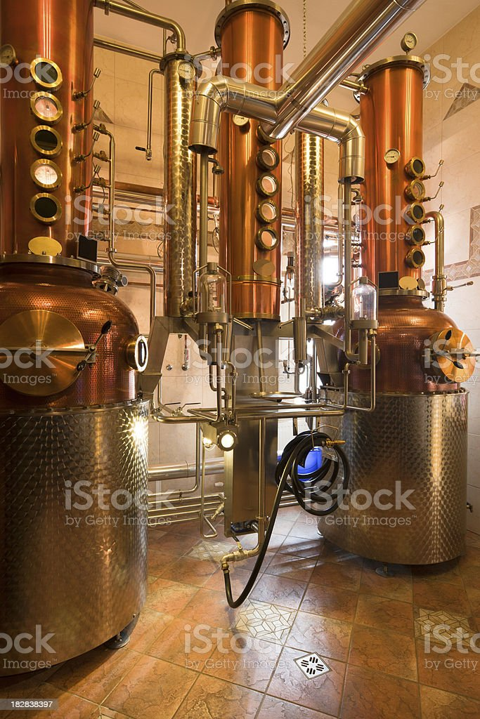 in whisky factory stock photo