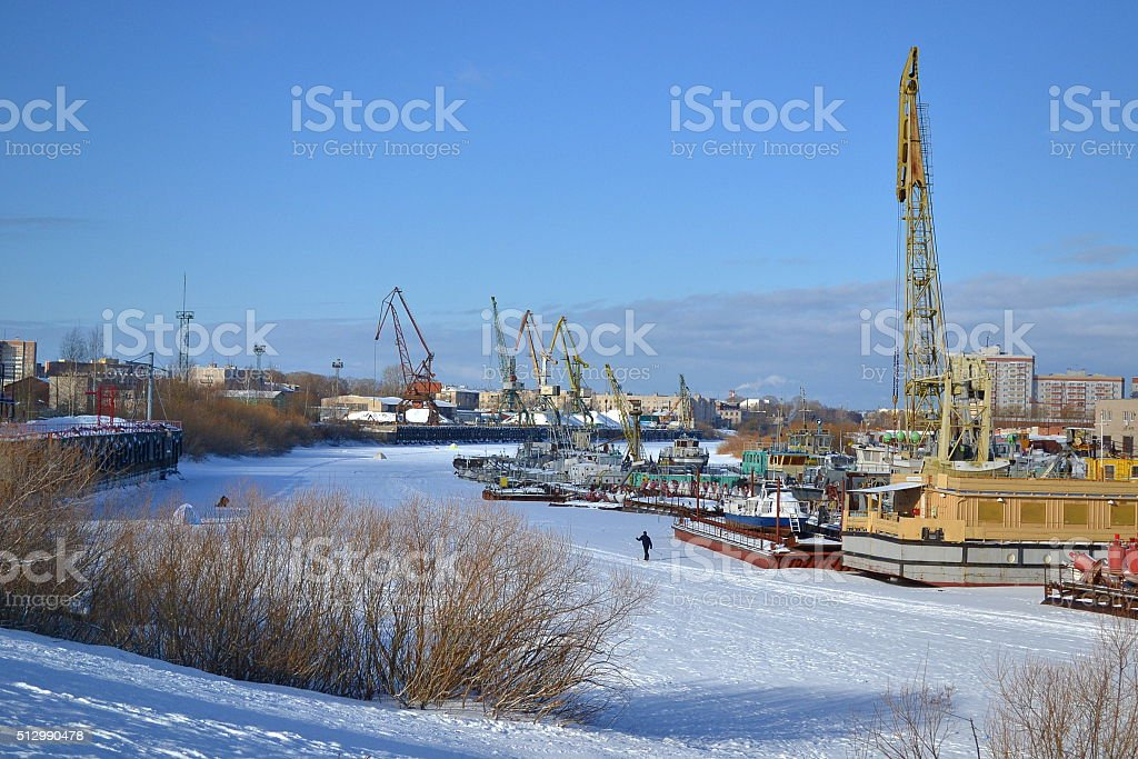 In winter on the river stock photo