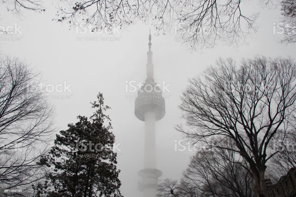 N SEOUL TOWER in winter with snow stom, stock photo