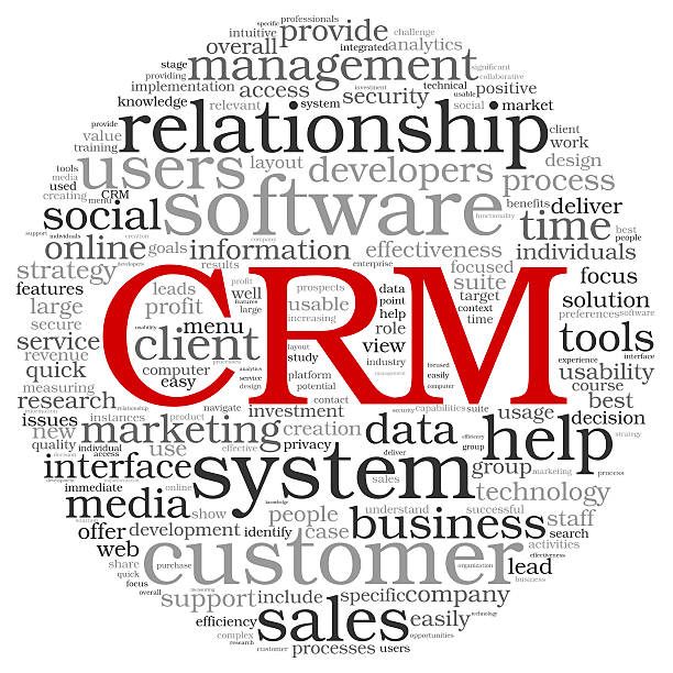CRM in word tag cloud stock photo