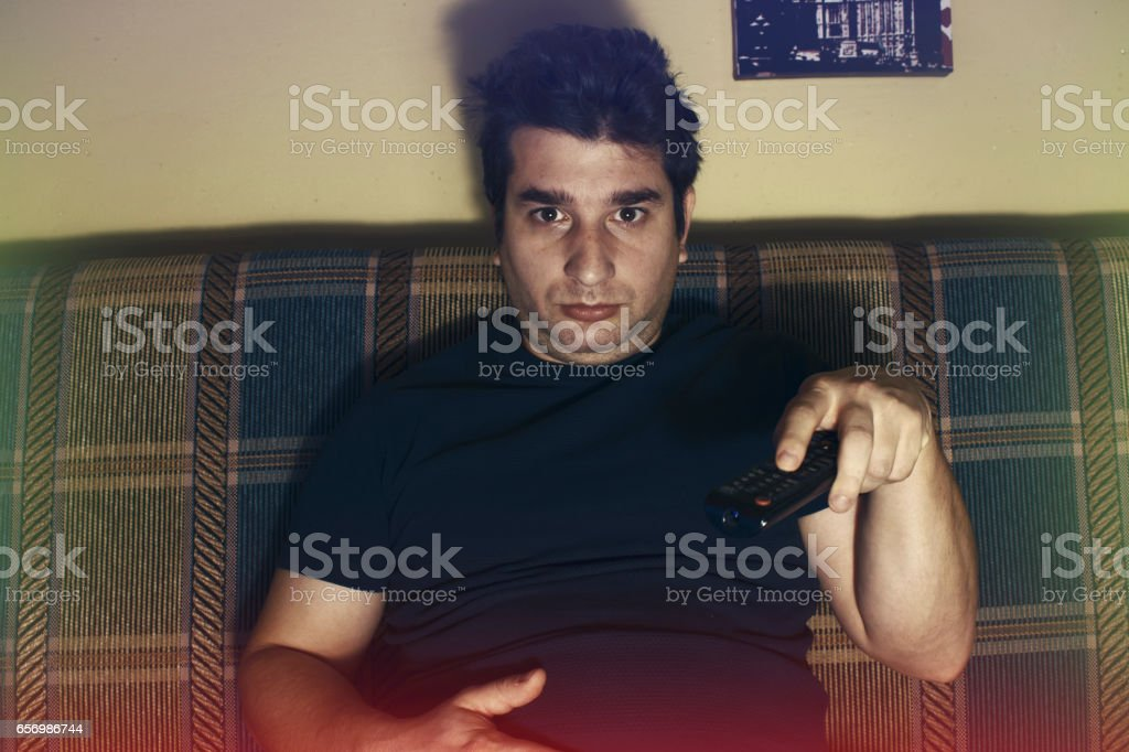 Inactive fat Young man stock photo