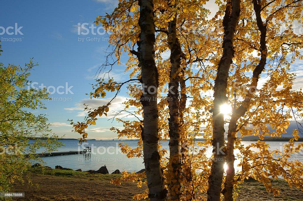 inari lake, lapland stock photo