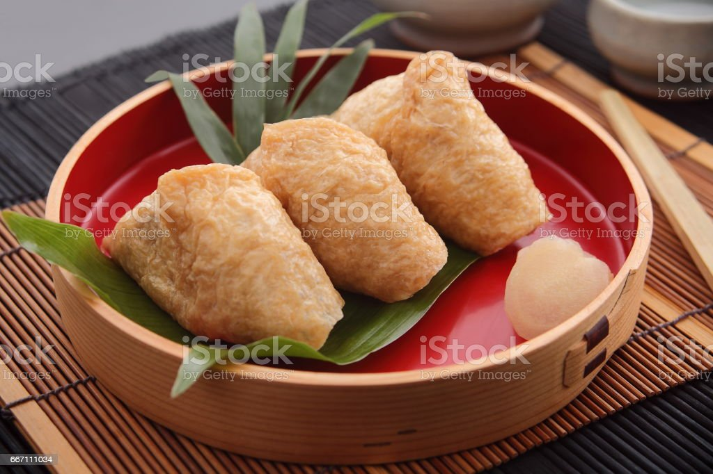 Inari Sushi Wrapped In Fried Tofu Japanese Food Stock Photo More